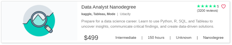Data Analyst Nanodegree by Udacity