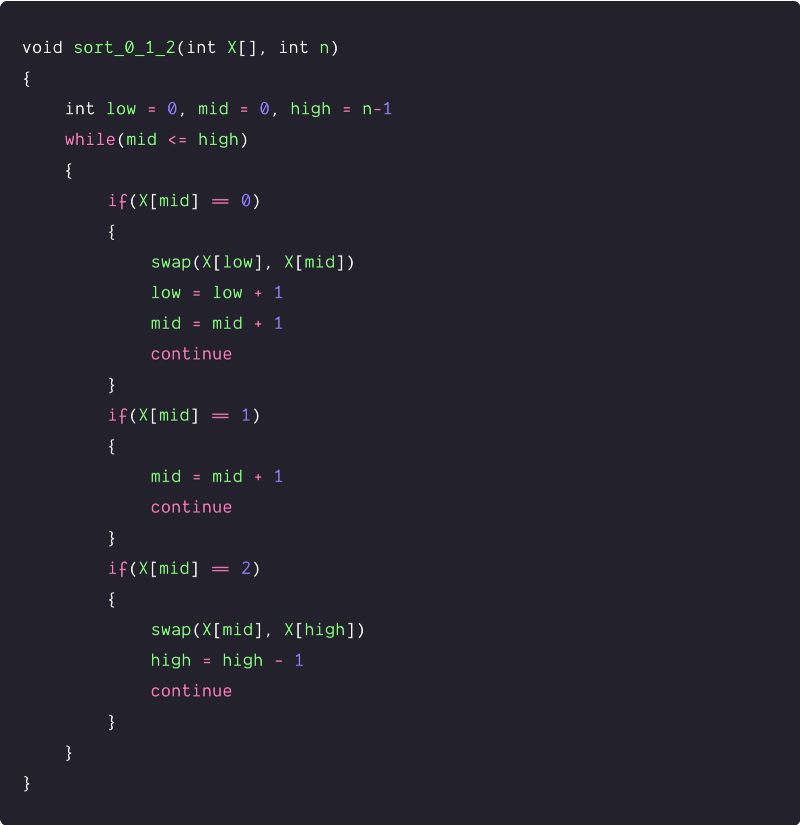 sort an array of 0s, 1s, and 2s three pointers pseudocode