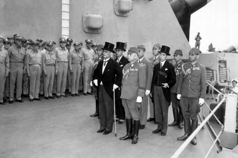 The Japanese surrender to U.S. forces