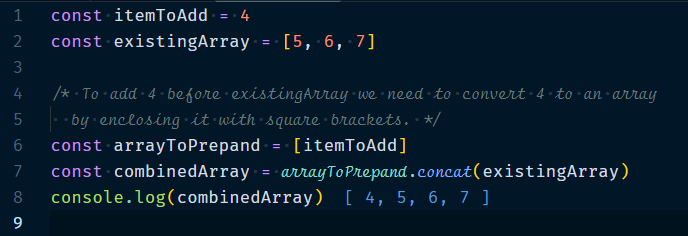 Adding elements to the front of an array