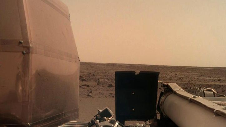 One of the first images of Mars' surface sent back from the InSight lander
