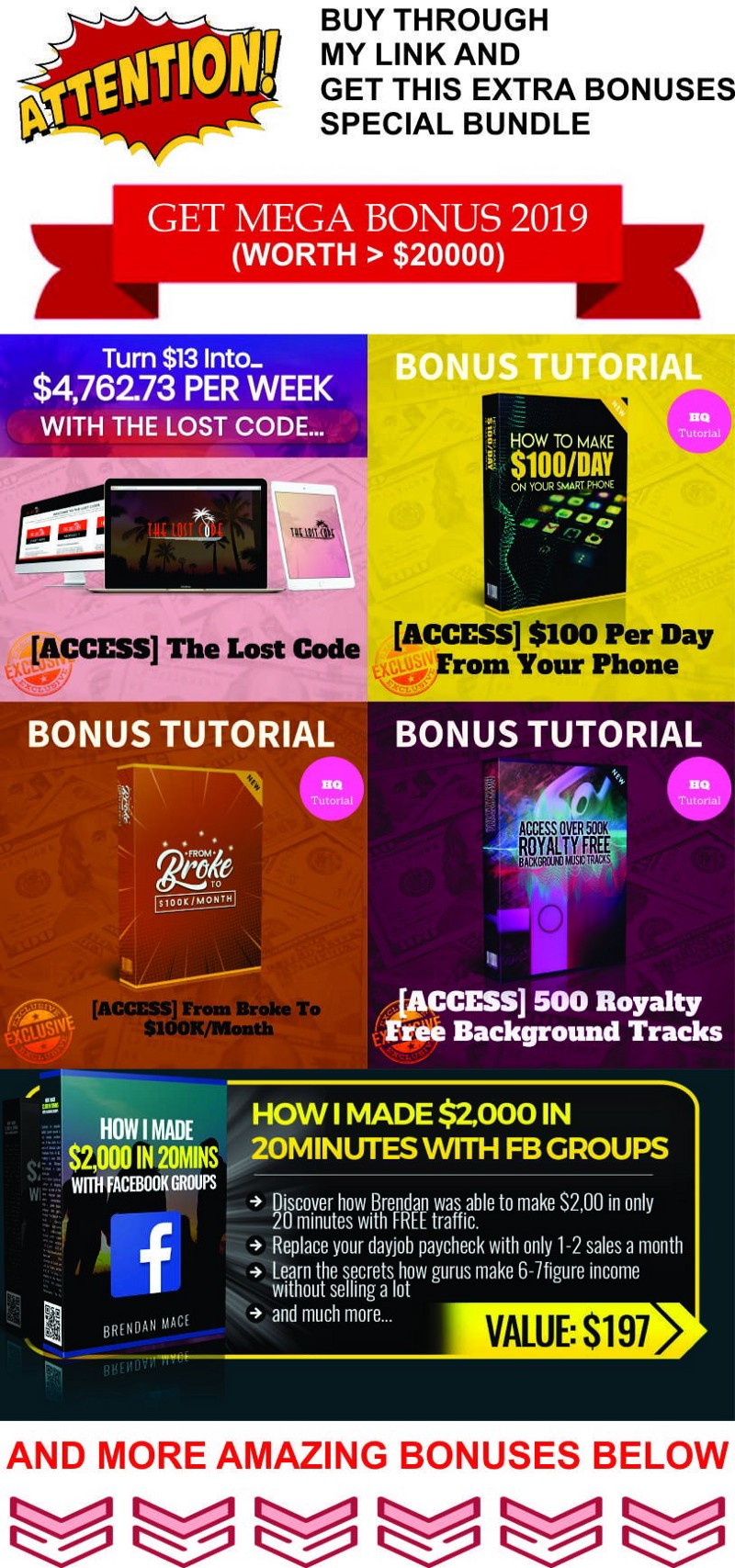 bonuses with the software