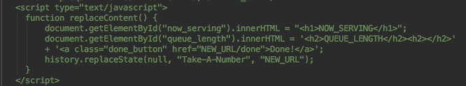 Javascript used to implement theupdate.