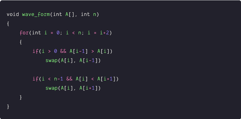 Sort an array in a waveform using a single loop