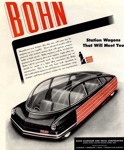 """Station Wagons That Will Meet You."" Arthur Radeburgh for Bohn, 1940s."