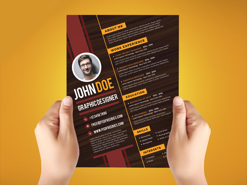 This Free Creative Graphic Designer Resume Template PSD Is A Simple,  Beautiful, Professional Look And Strong Typographic Structure.  Resume Template Psd
