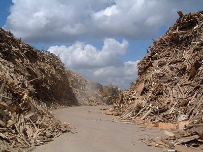 What happens to the waste in skips?