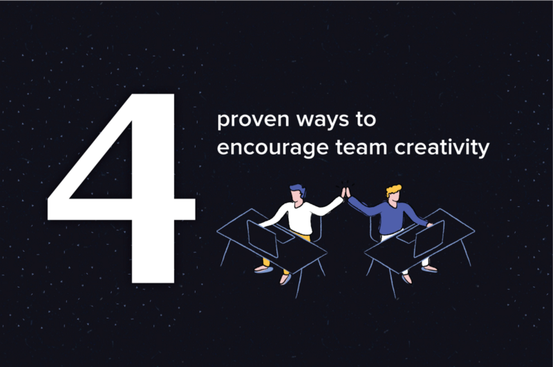 Graphic: two individuals high fiving. Text reads: 4 proven ways to encourage team creativity