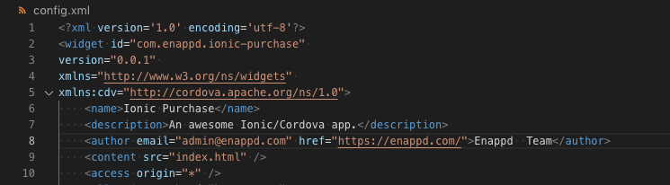 Change app name and package ID in config.xml