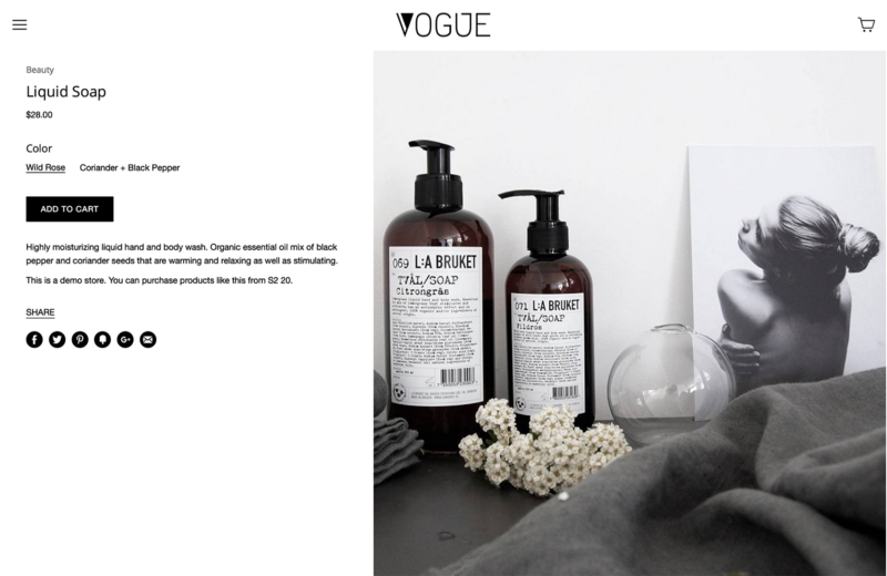 Vogue editorial preset product page