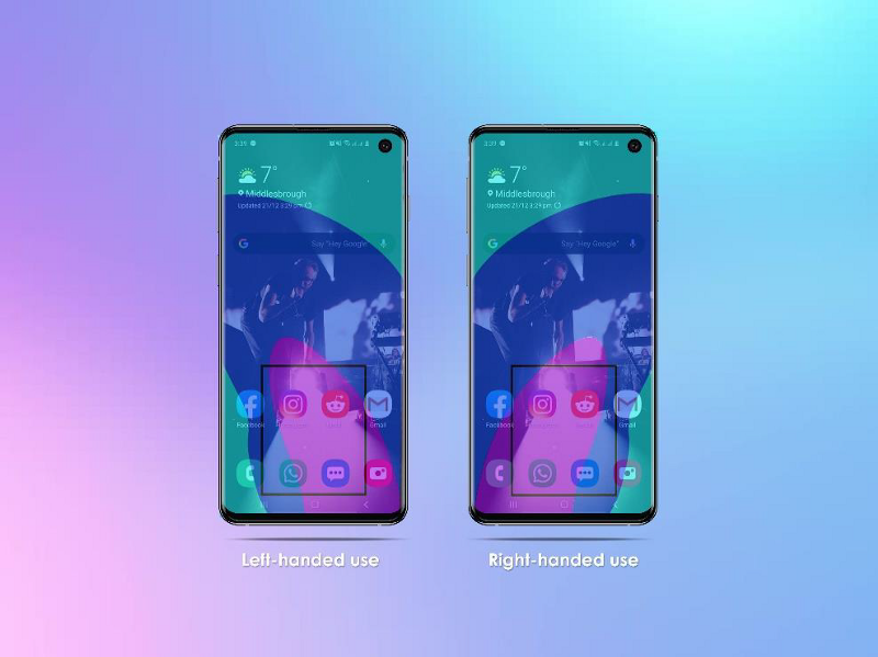 Heat Map of both left & right handed use overlayed on S10 screens
