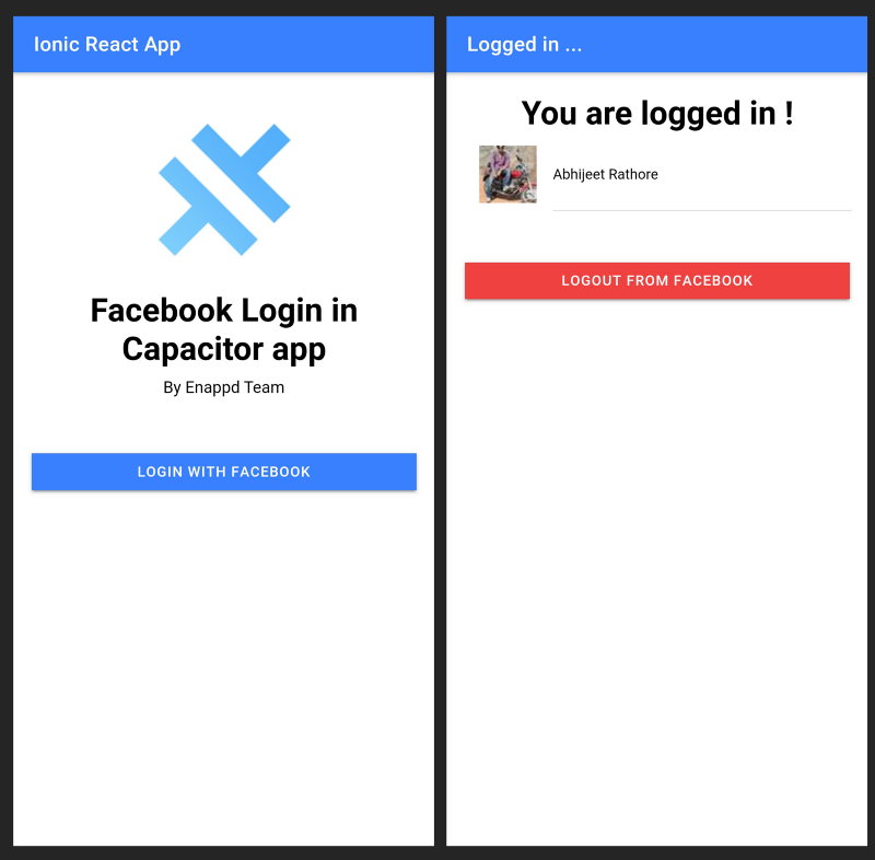 Login and Homepage for Ionic React Capacitor Facebook Login starter app