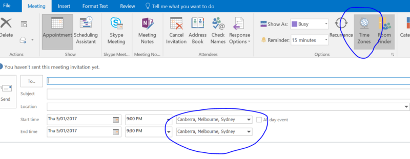 how to change time zone office 365