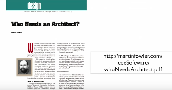 Artículo original: Who needs an architect? de Martin Fowler