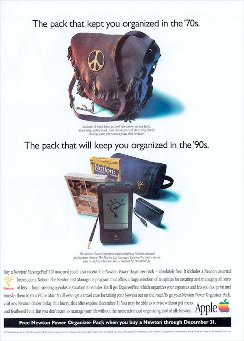An ad for Apple's 1992 Newton MessagePad, boasting about its versatility. Credit: Apple