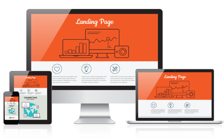 several screens with a landing page on each screen
