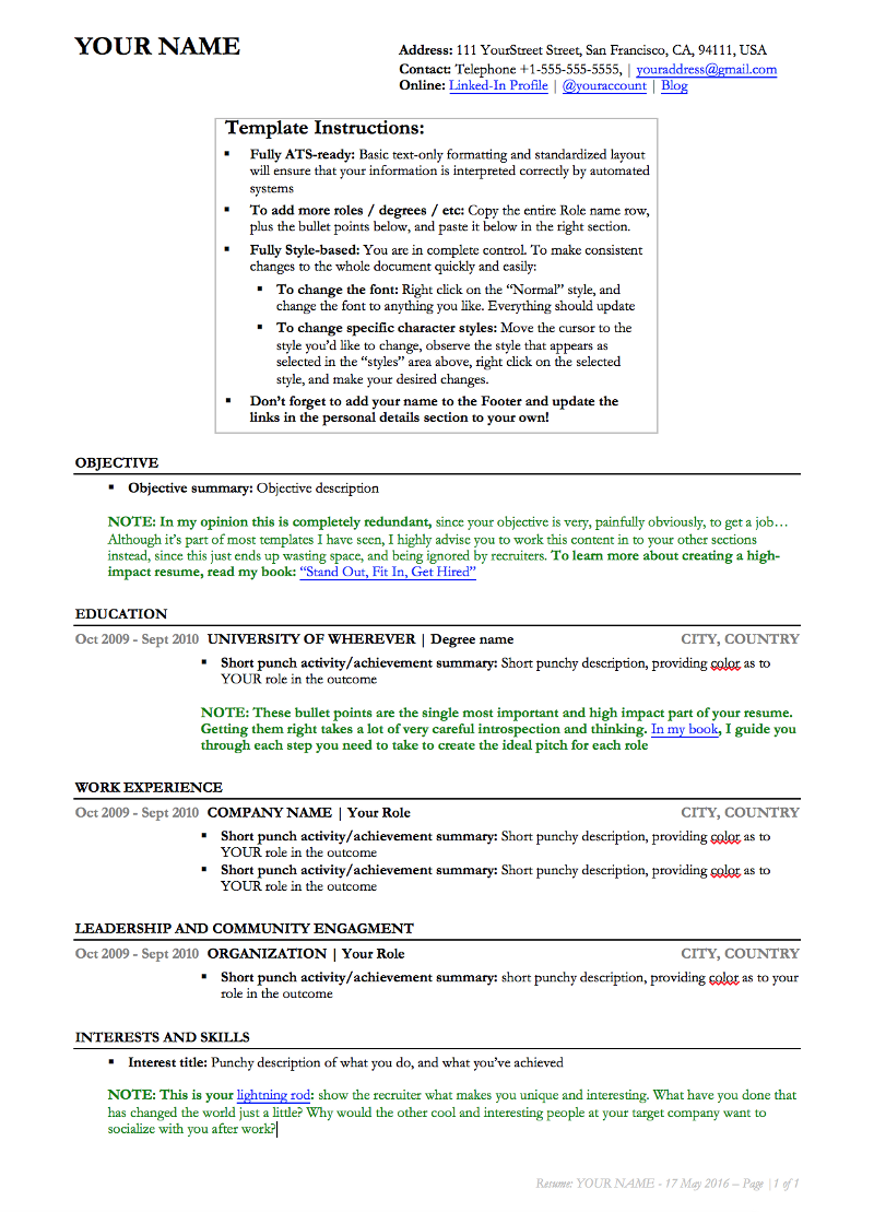 stand out a resume hyper tailored for every job and use this resume template link