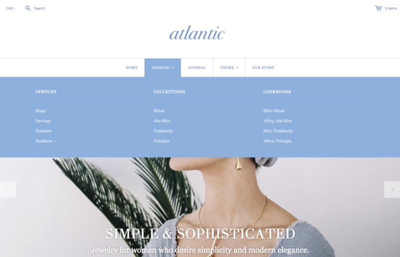 Atlantic Shopify theme with nested navigation enabled