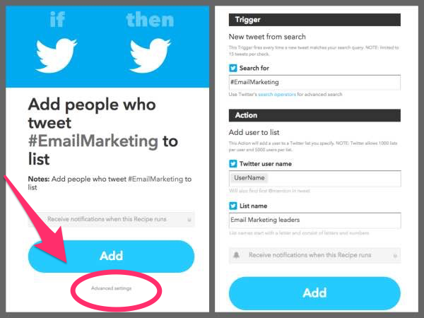 IFTTT recipe to add #emailmarketing to list