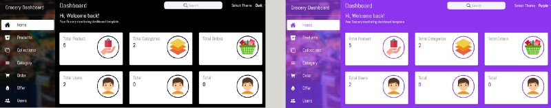 Dark and purple Theme in Ionic Grocery Platform by Enappd