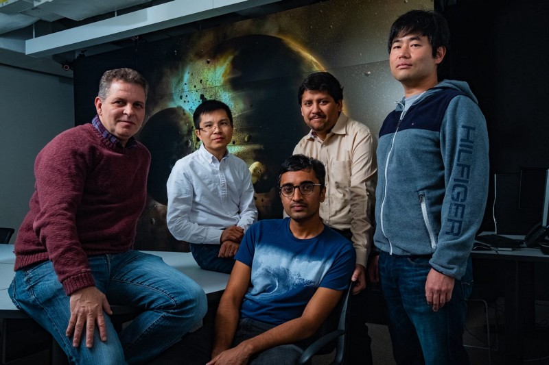 A study by Rice University scientists (from left) Gelu Costin, Chenguang Sun, Damanveer Grewal, Rajdeep Dasgupta and Kyusei Tsuno found Earth most likely received the bulk of its carbon, nitrogen and other life-essential elements from the planetary collision that created the moon more than 4.4 billion years ago. The findings appear in the journal Science Advances. (Jeff Fitlow/Rice University)