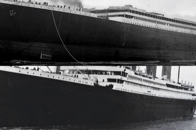 During construction — top, Titanic had 14 portholes. By its maiden voyage — bottom, it had 16