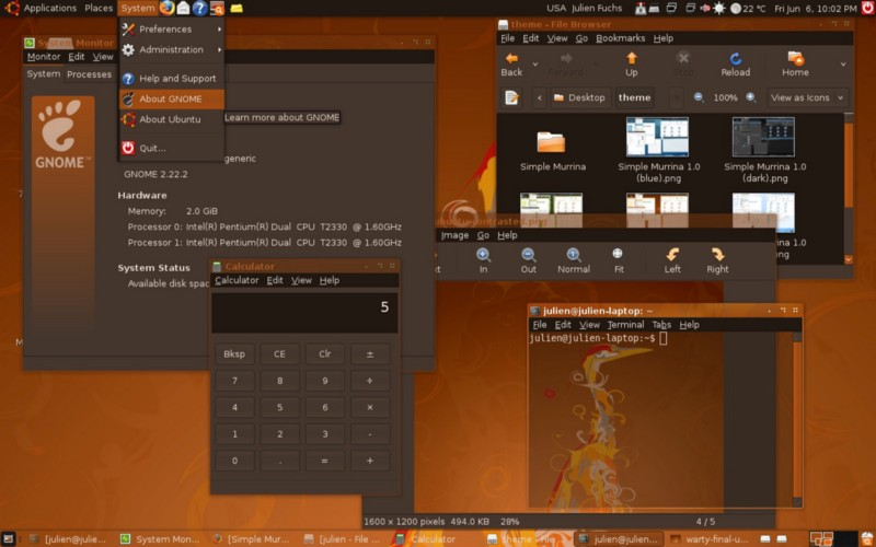 "Ubuntu 8.04 LTS ""Hardy Heron"" with the GNOME 2 desktop. (Credit: JULIENFS on addons.videolan.org)"