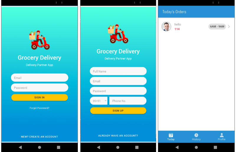Login, signup and today's orders pages of Ionic Grocery Delivery person app—Ionic Grocery Delivery Platform