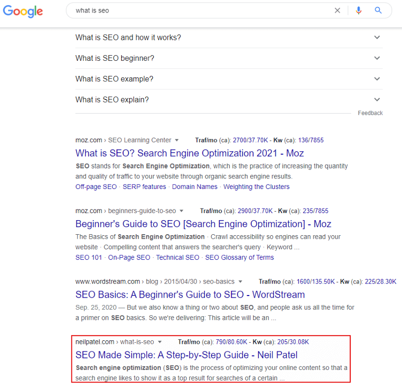 neil patel ranking 5th for what is seo