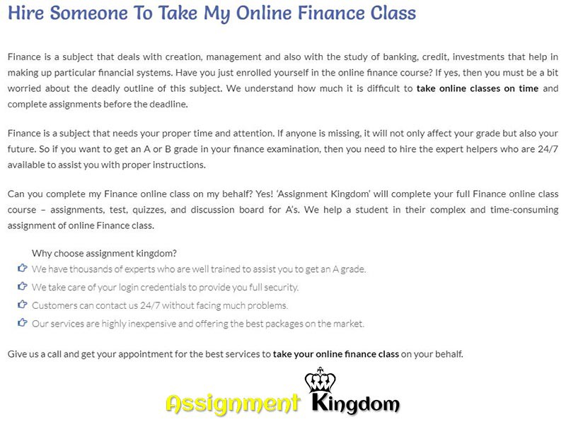 Take My Online Finance Class For Me  Assignment Kingdom  Medium