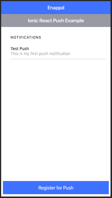 Home page of ionic-react push notification starter
