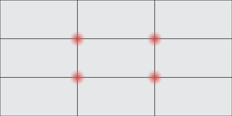 Basic frame showing what is the rule of thirds. The rule of thirds graphic design practice creates three open rows and columns, with lines that intersect at four central points in the frame.