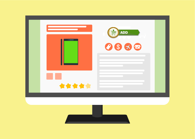 A graphic illustrating an e-commerce store, the call to action is at the top of the page