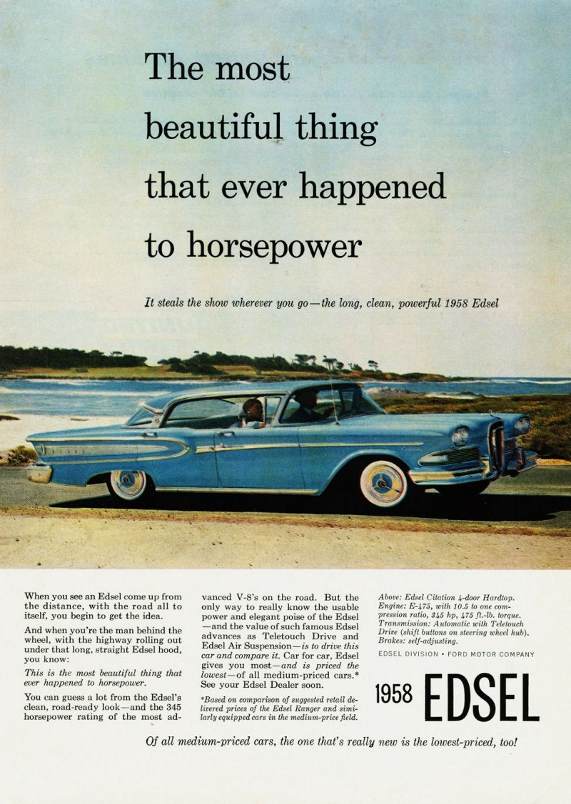 an campaign for the edsel using a three column layout