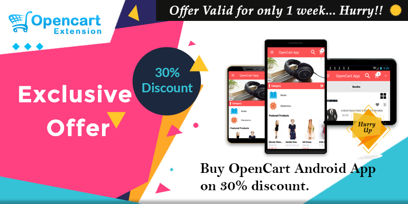 OpenCart android App offer vaild till jan 2019