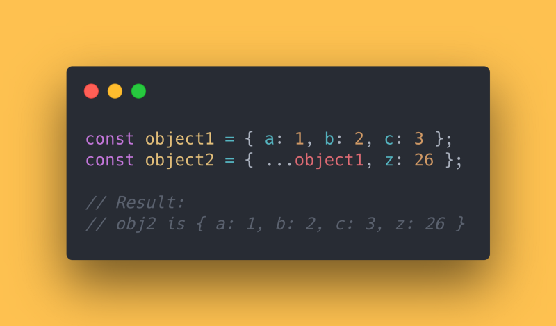 JS code block showing how to combine multiple objects into 1 using the spread operator