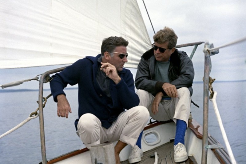 Peter Lawford — left, pictured with his brother-in-law President John F Kennedy