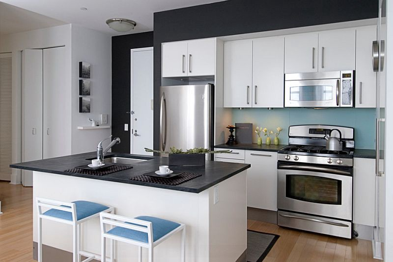 Image Source Cdndecoist Wp Content Uploads 2014 05 A Dash Of Blue In The Black And White Kitchen