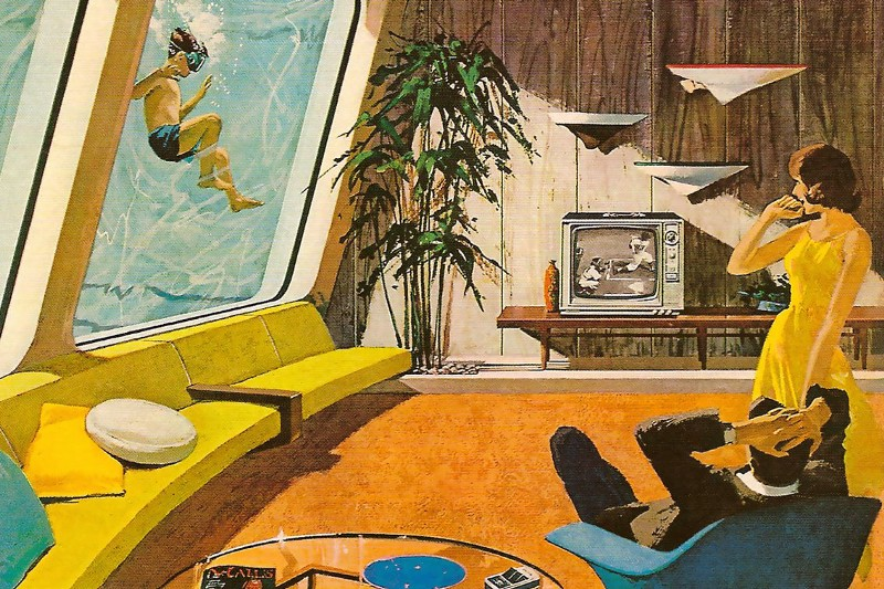 Why watch baseball from the comfort of your couch when you can view it from the comfort of your own pool? Charles Schridde for Motorola, 1961.