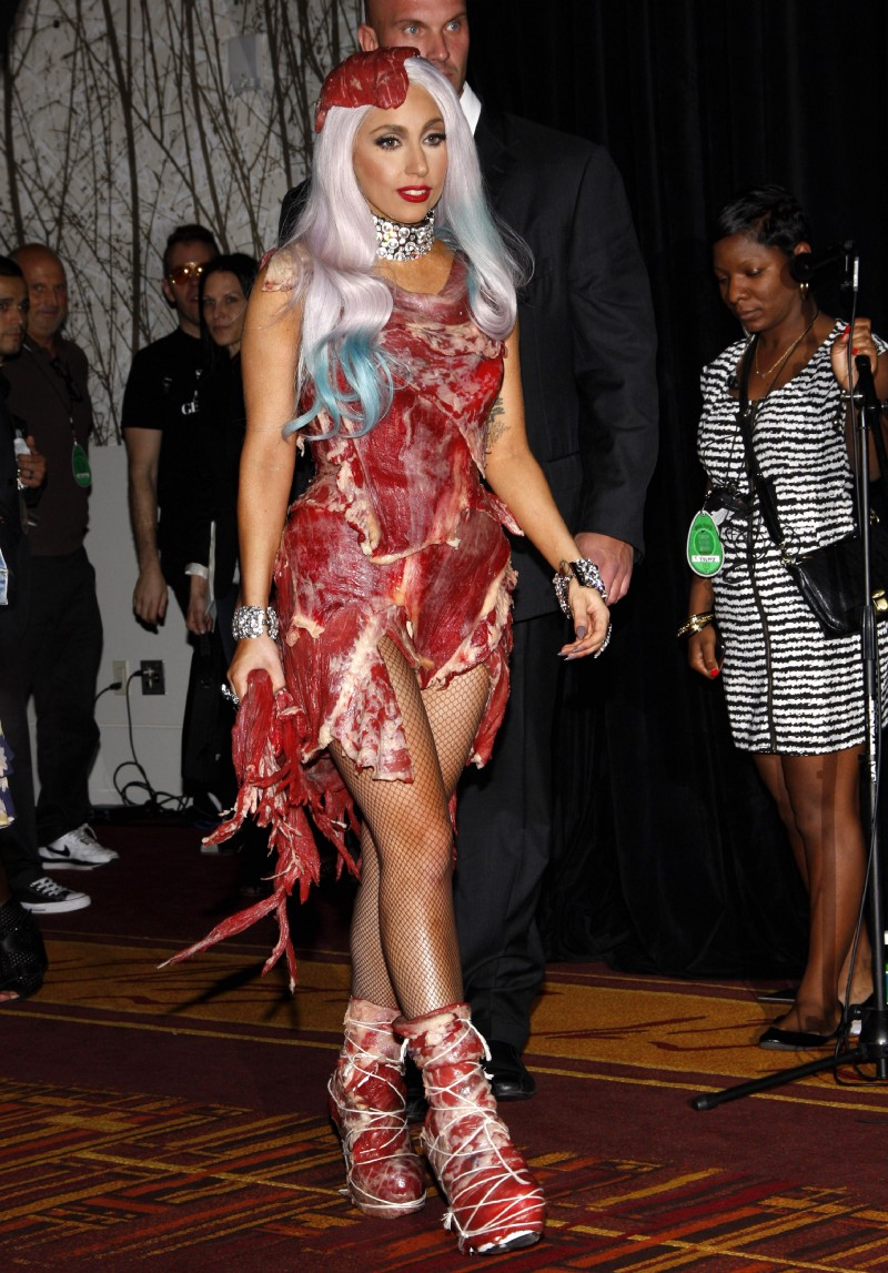 Lady Gaga utilizing the meat dress in building a brand