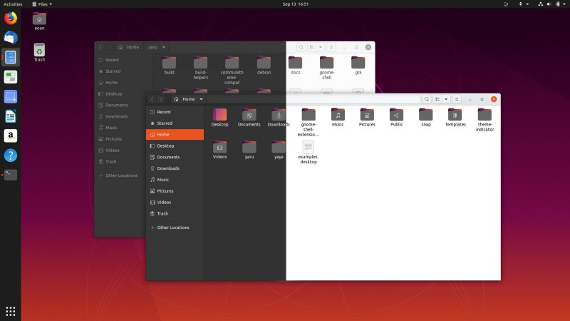 Preview of the new and improved Yaru theme for Ubuntu 20.04. (Credit: Martin Wimpress on ubuntu.com)