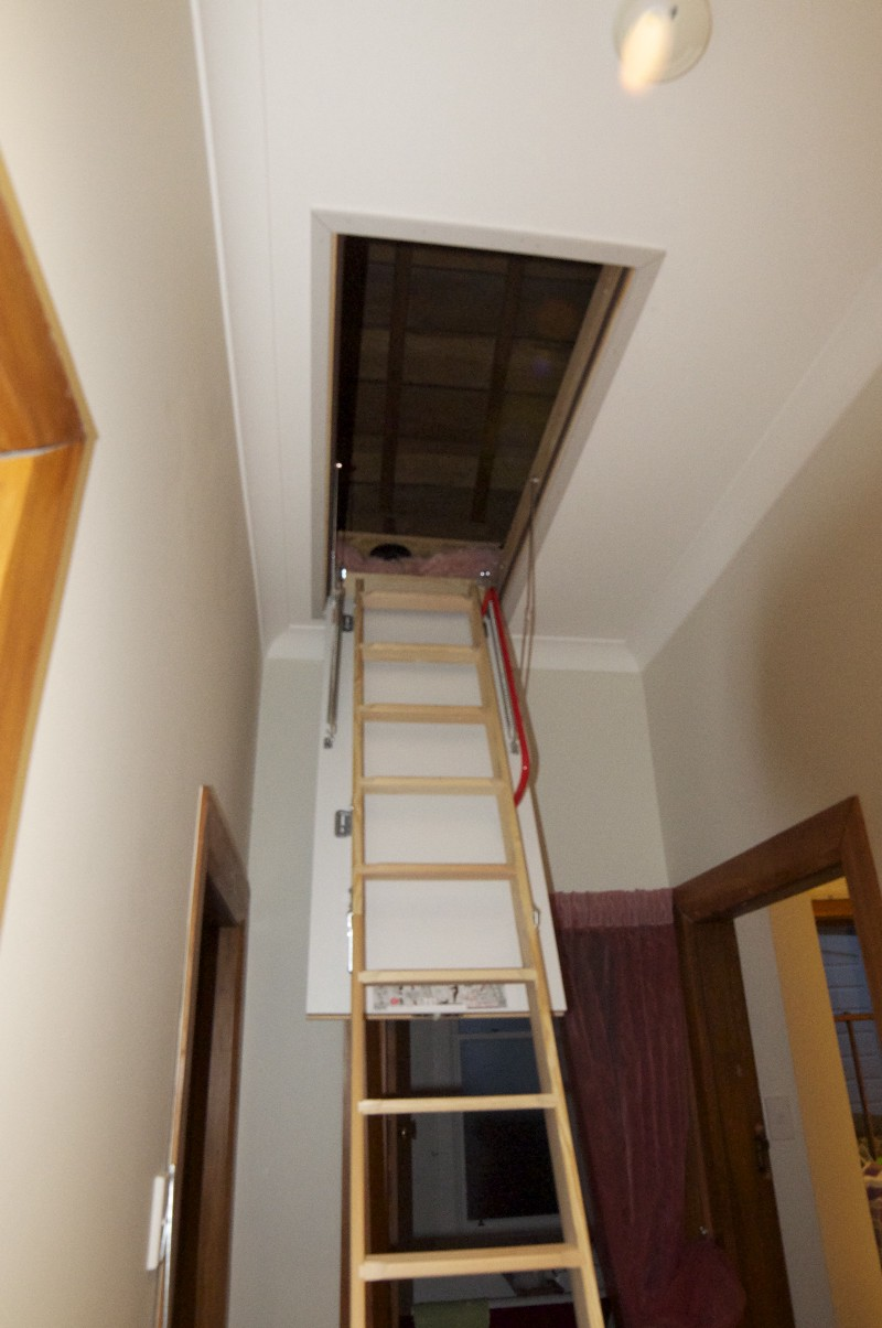 installed attic stair features