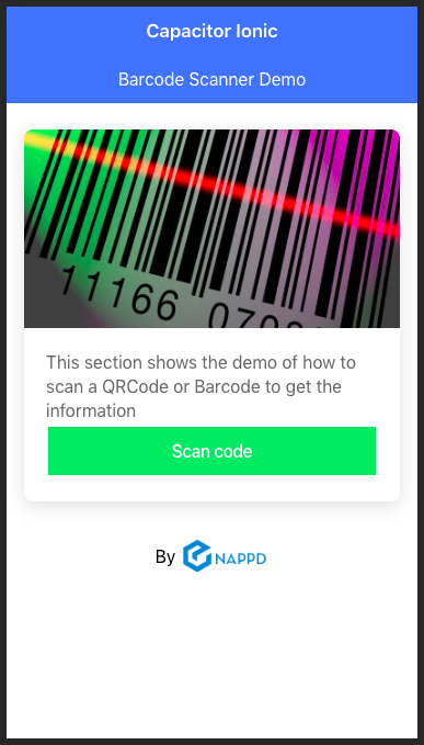 Demo home page for capacitor barcode scanning app