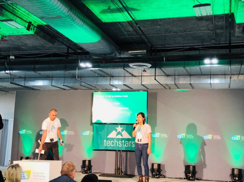 Tra Vu on Techstars stage