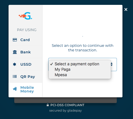 Gladepay's Checkout Page [Mobile Money Section]