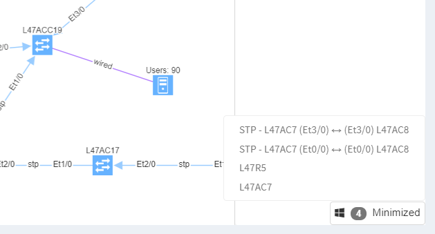 Tooltip windows in network diagrams
