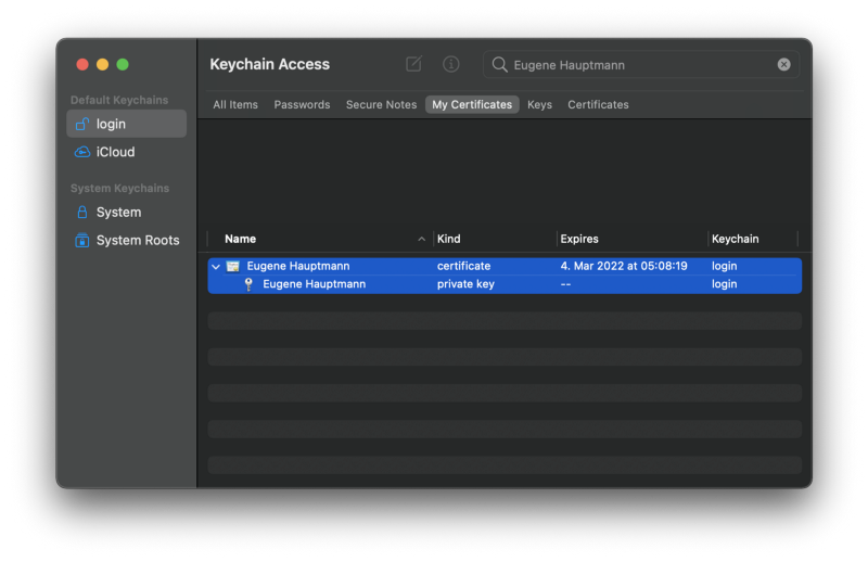 Find your certificate and private key in Keychain Access