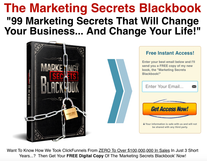 The Marketing Secrets Blackbook squeeze page