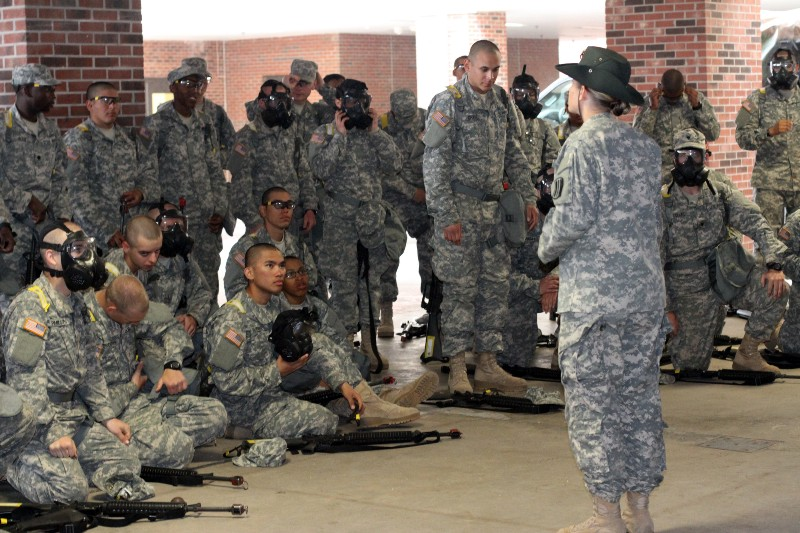Drill Sgt Angela Lee Of The 98th Training Division Instructs Recruits Undergoing Basic Combat On Reacting To A Chemical Attack During