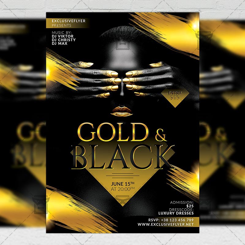 Gold And Black Party Club A5 Flyer Template Exclusive Flyer Medium